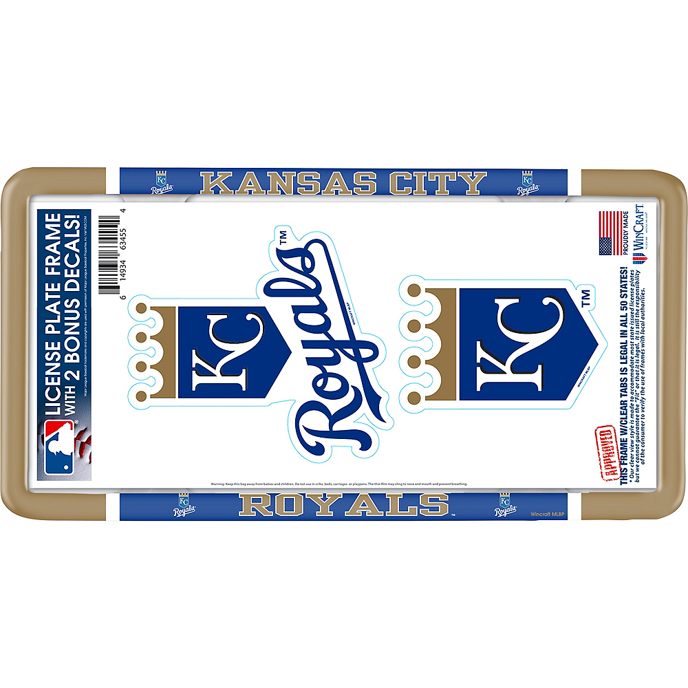 Kansas City Royals License Plate Frame with Decals 3pc Image #1