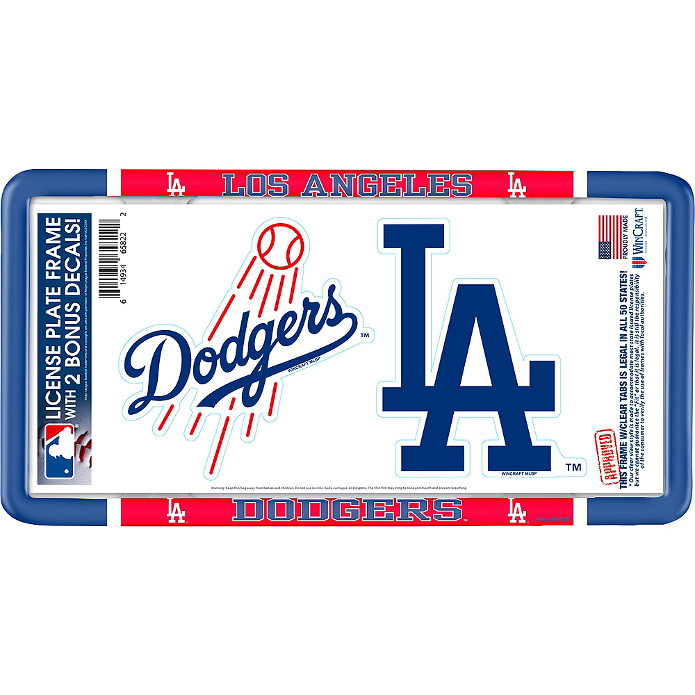 Los Angeles Dodgers License Plate Frame with Decals 3pc Image #1