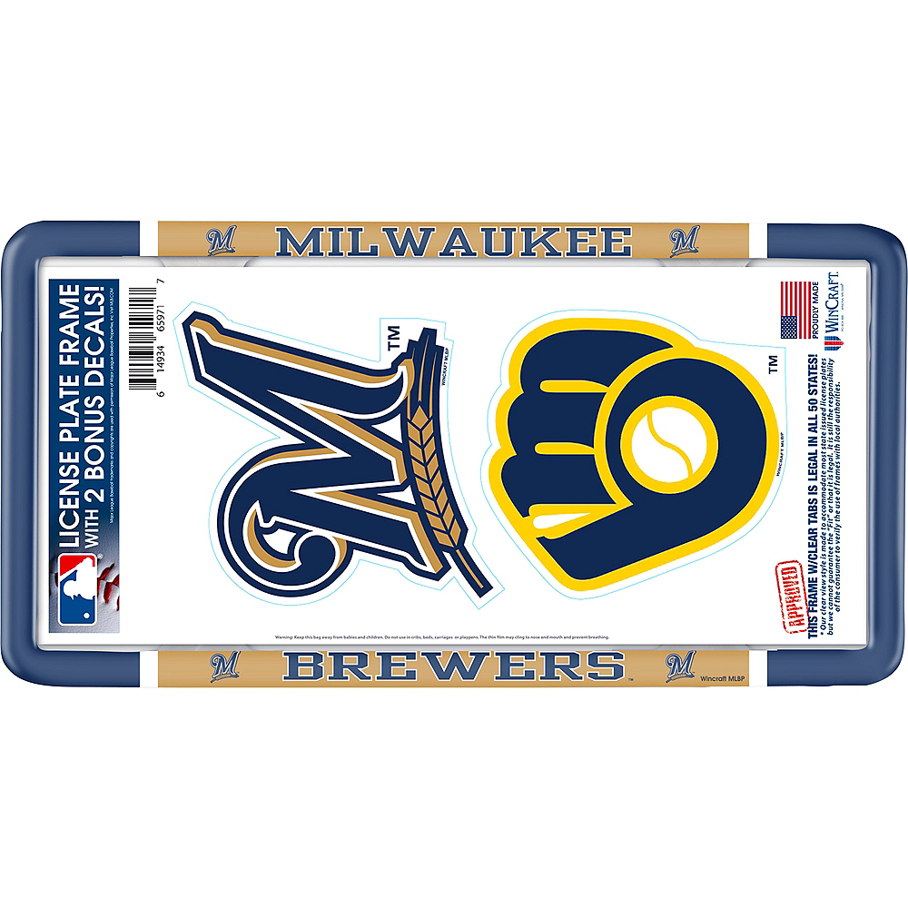 Milwaukee Brewers License Plate Frame with Decals 3pc Image #1