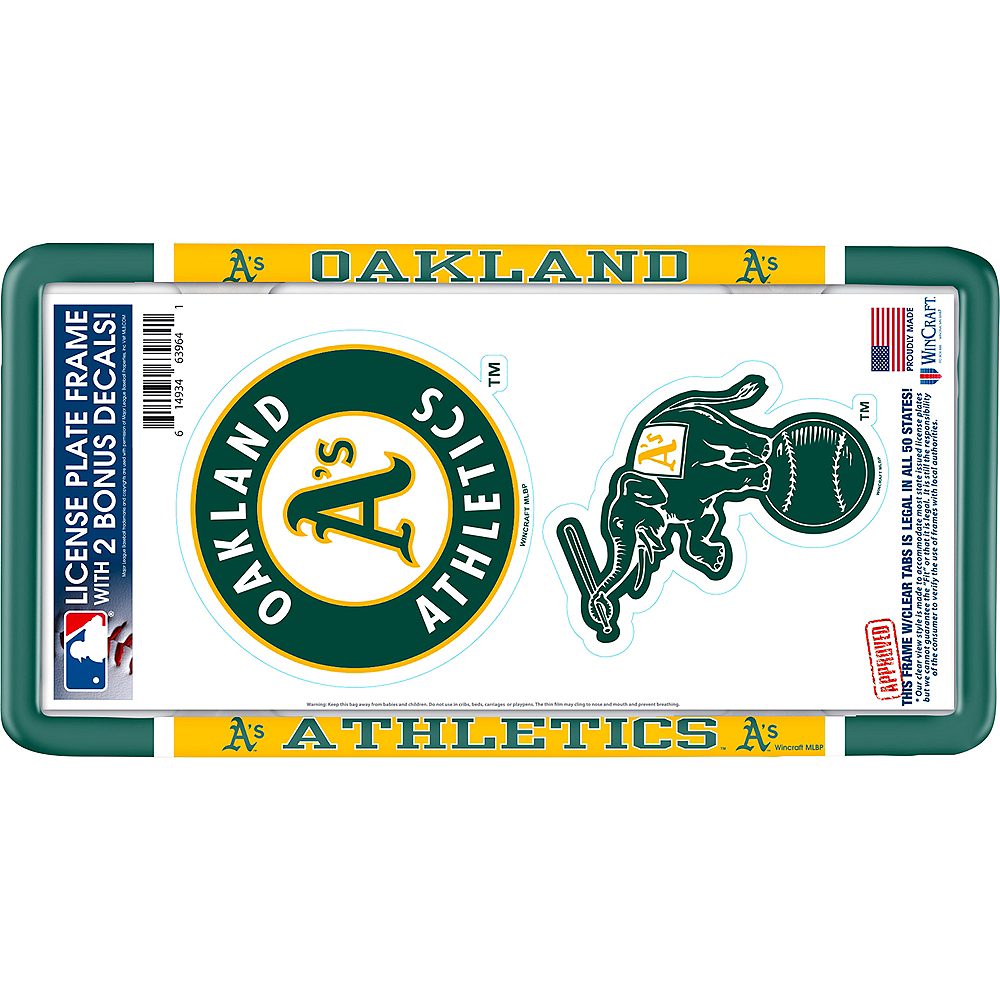Oakland Athletics License Plate Frame with Decals 3pc Image #1