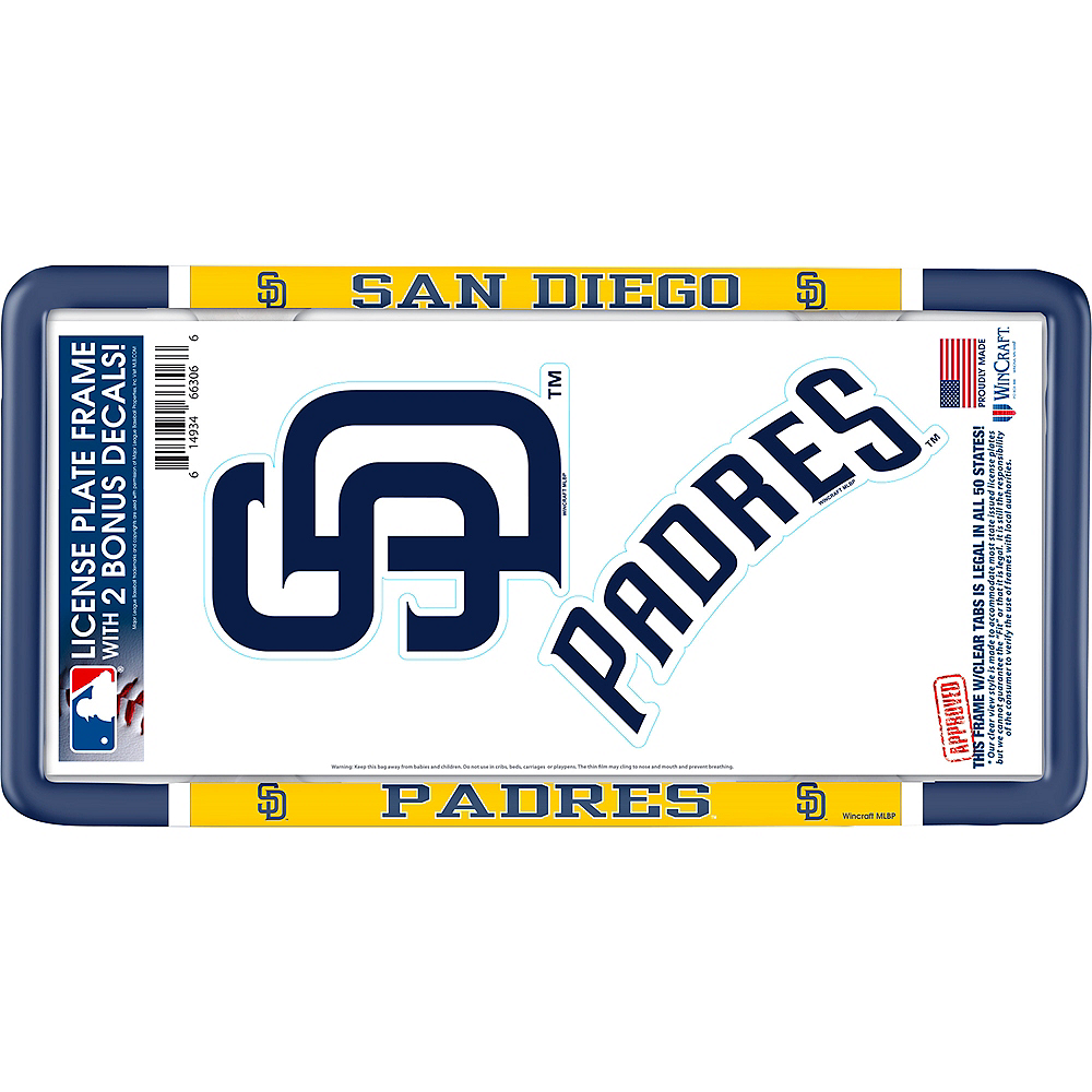 San Diego Padres License Plate Frame with Decals 3pc Image #1