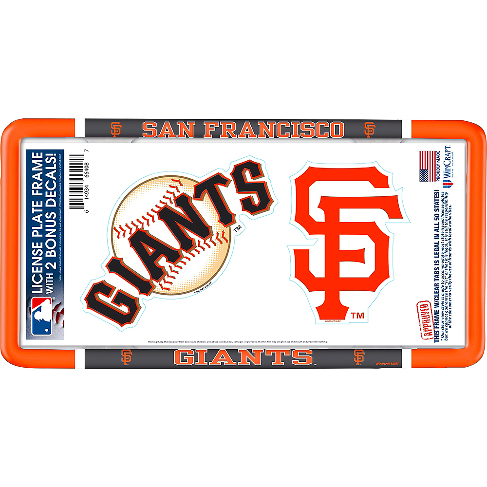 San Francisco Giants License Plate Frame with Decals 3pc Image #1
