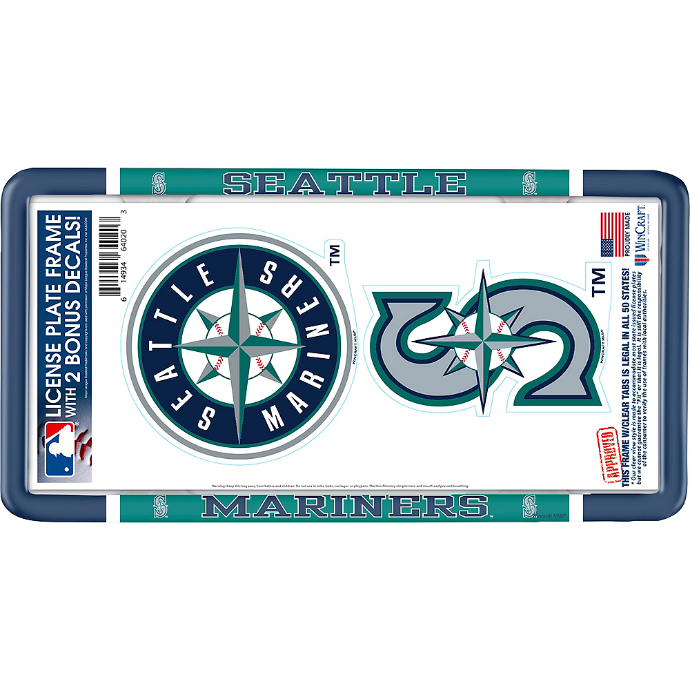 Seattle Mariners License Plate Frame with Decals 3pc Image #1