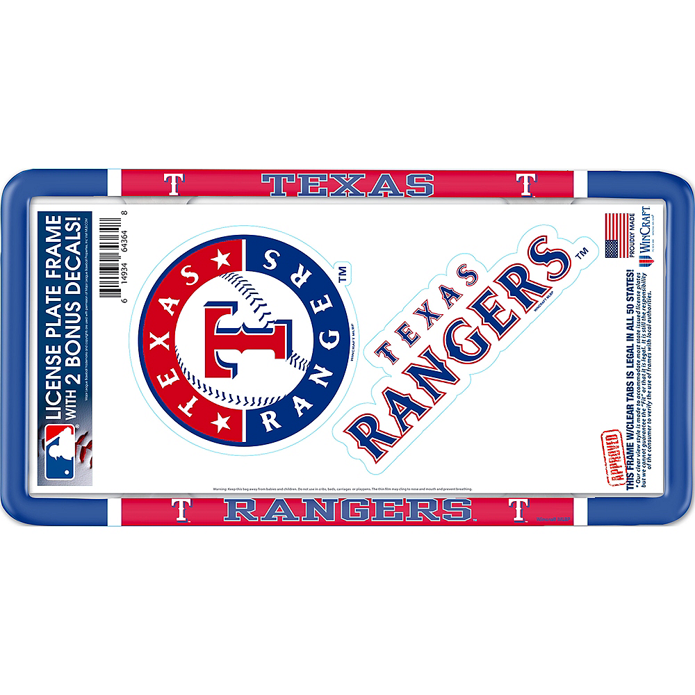 Texas Rangers License Plate Frame with Decals 3pc Image #1