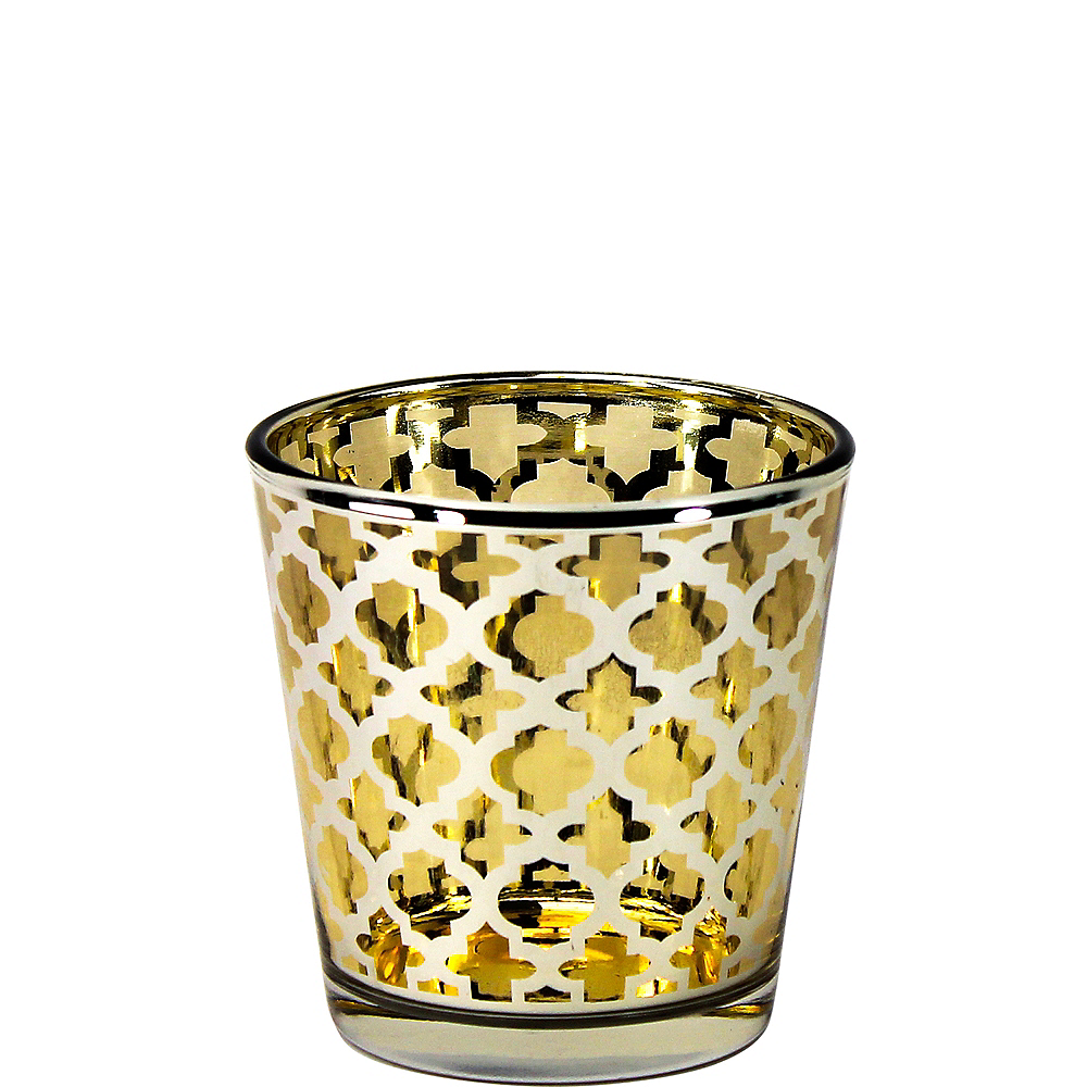Large Gold Moroccan Votive Candle Holders 6ct Image #1