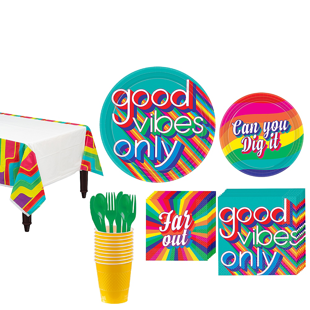 Good Vibes 70s Tableware Kit for 8 Guests Image #1