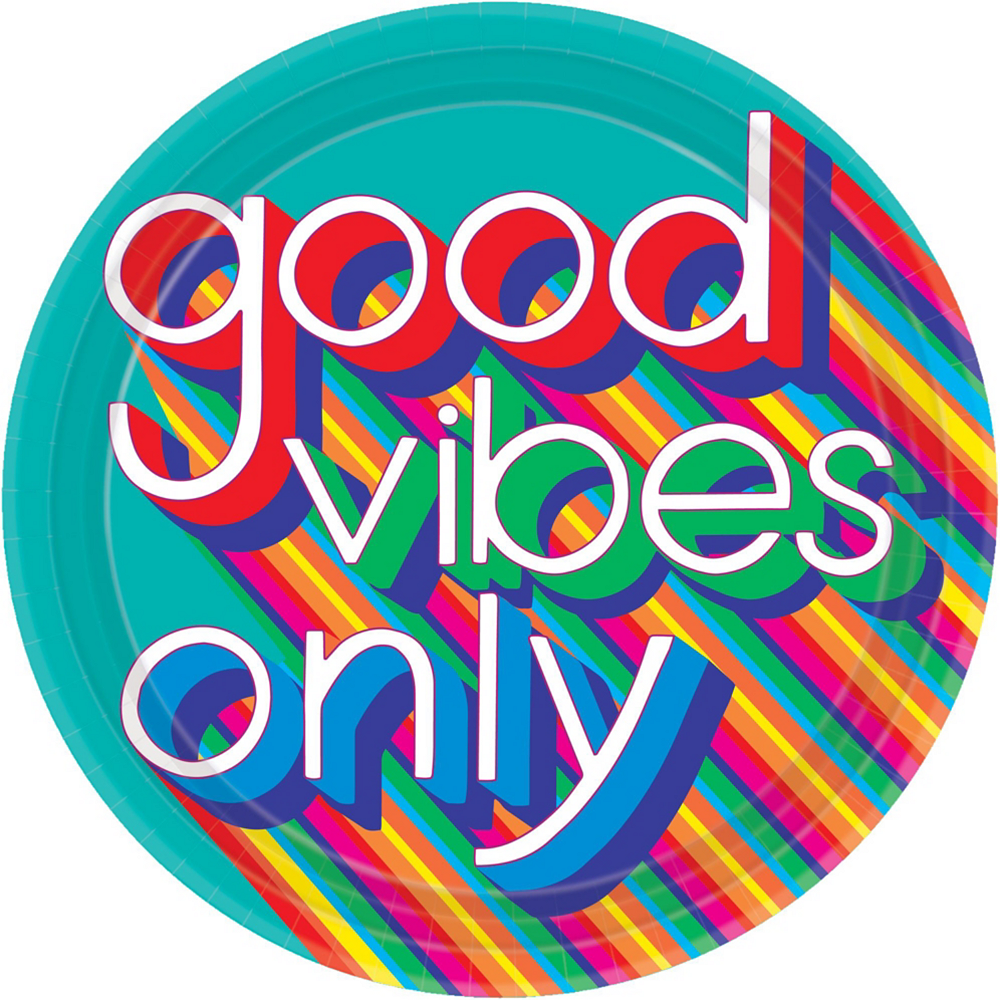 Good Vibes 70s Tableware Kit for 8 Guests Image #3