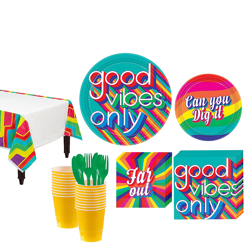 Good Vibes 70s Tableware Kit for 16 Guests Image #1