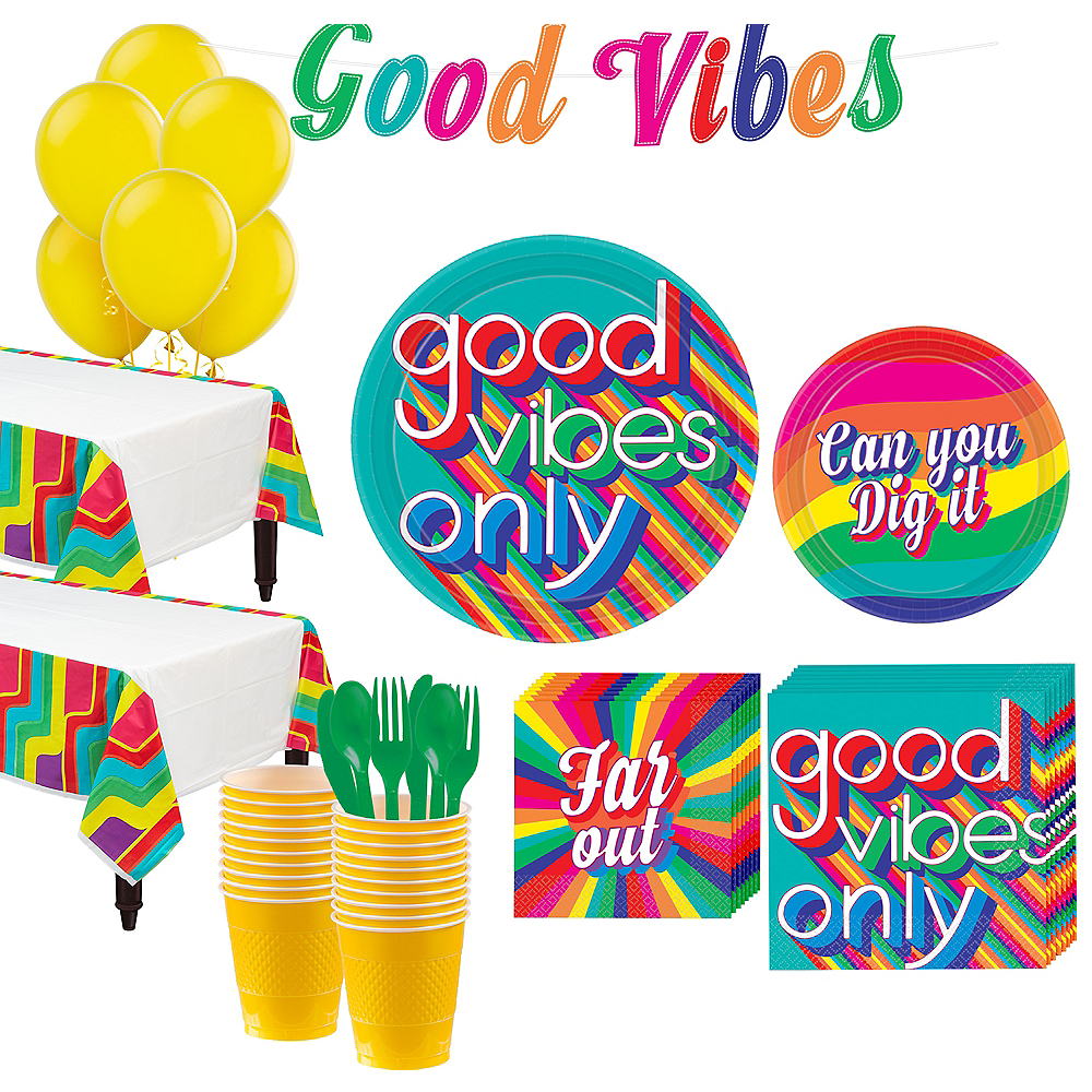 Super Good Vibes 70s Tableware Kit for 32 Guests Image #1