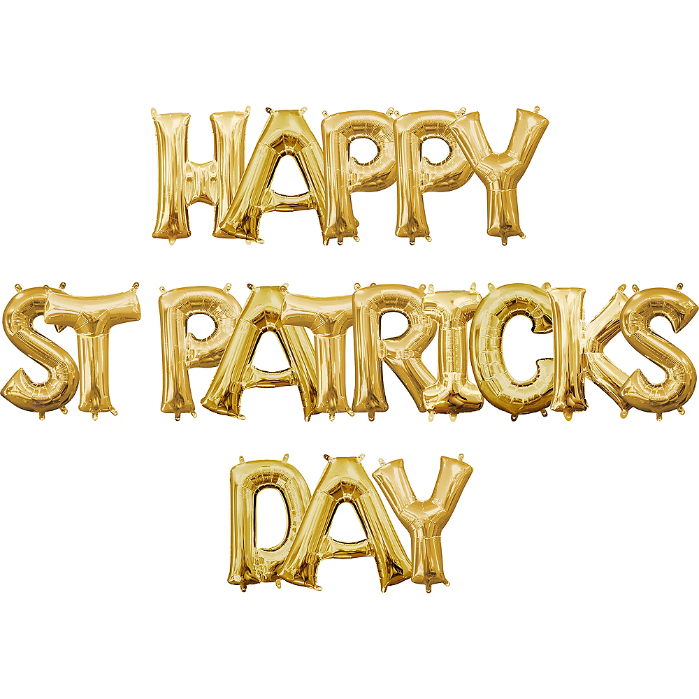 Air-Filled Gold Happy St. Patrick's Day Letter Balloon Kit Image #1