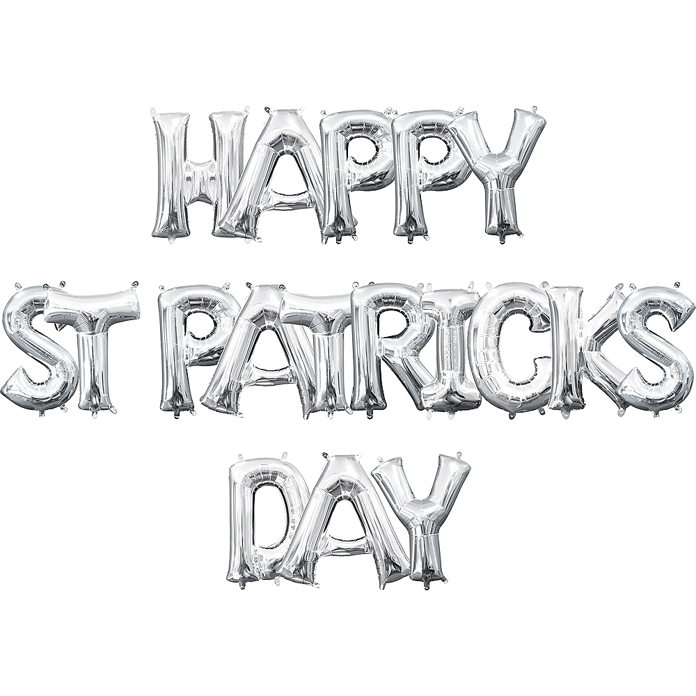 Air-Filled Silver Happy St. Patrick's Day Letter Balloon Kit Image #1