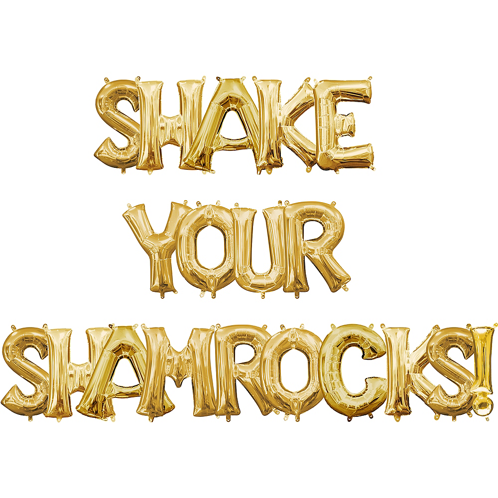 Air-Filled Gold Shake Your Shamrocks! Letter Balloon Kit Image #1