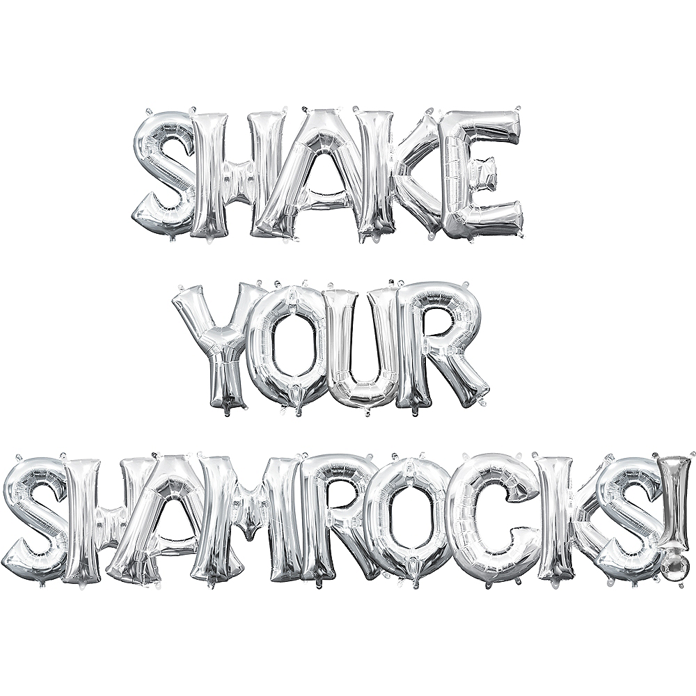 Air-Filled Silver Shake Your Shamrocks! Letter Balloon Kit Image #1