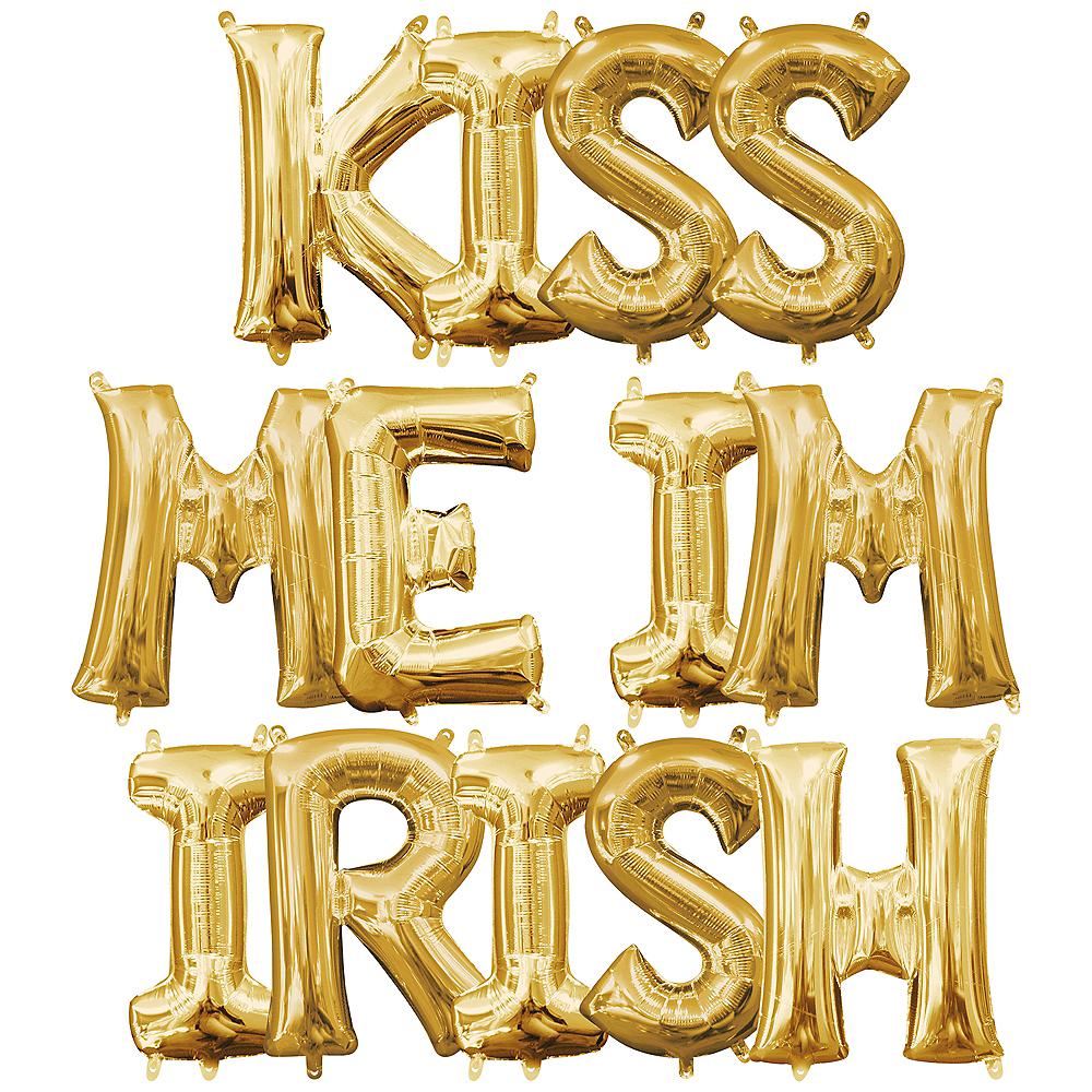 Air-Filled Gold Kiss Me I'm Irish Balloon Kit Image #1