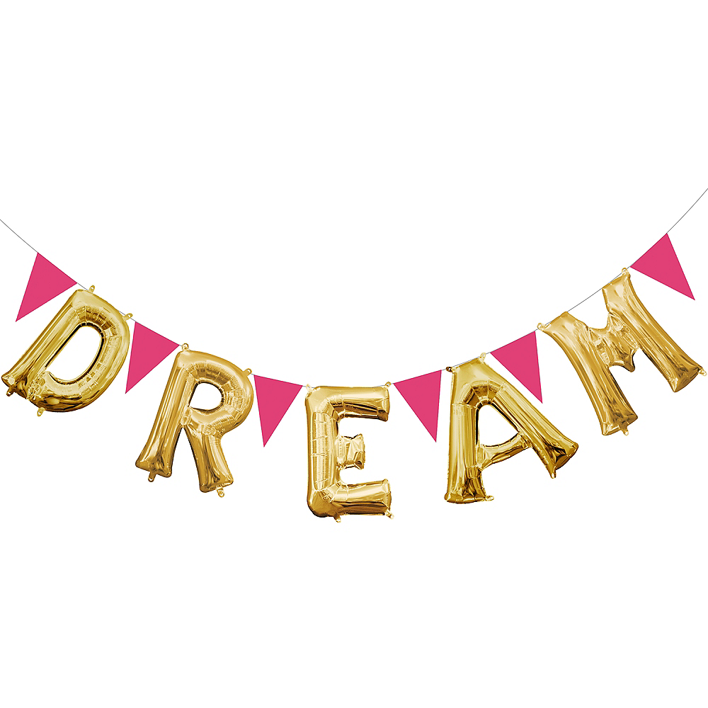 Gold Dream Letter Balloons & Pink Pennant Banner Kit Image #1