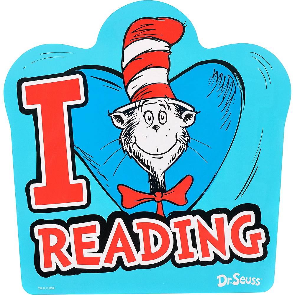 Cat in the Hat I Heart Reading Cutouts 12ct - Dr. Seuss Image #1