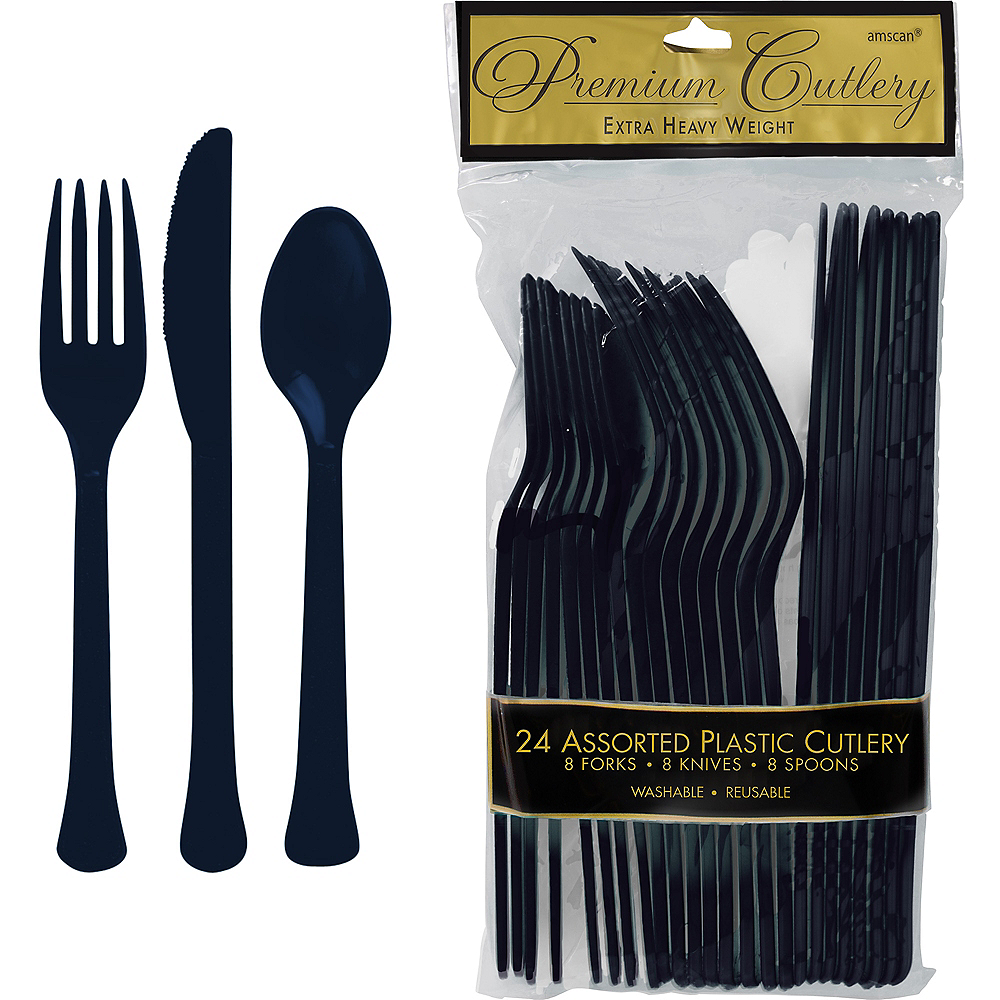 True Navy Blue Premium Plastic Cutlery Set 24ct Image #1