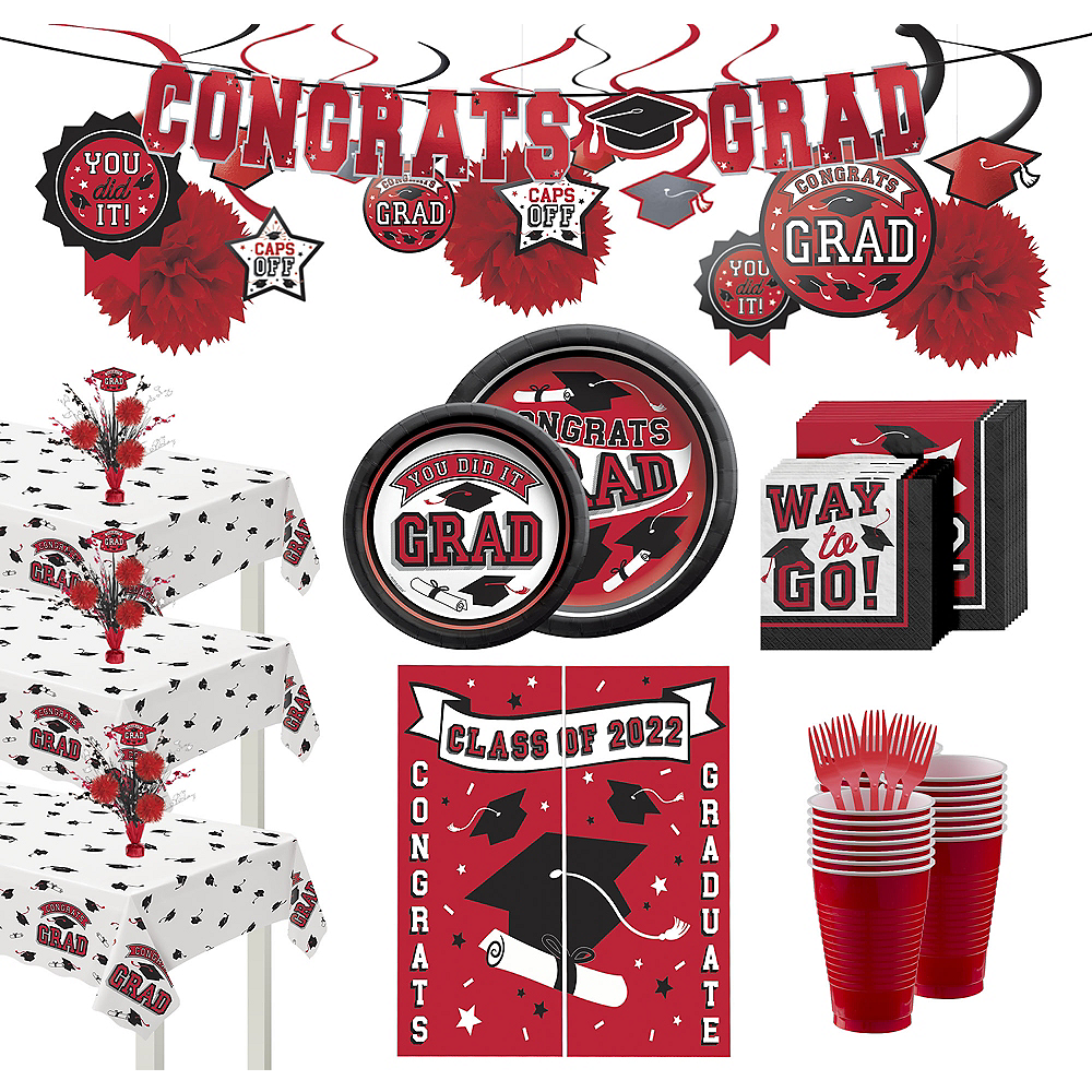 Ultimate Red Congrats Grad Graduation Party Kit for 100 Guests Image #1