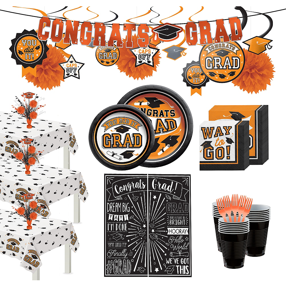 Nav Item for Ultimate Orange Congrats Grad Graduation Party Kit for 100 Guests Image #1