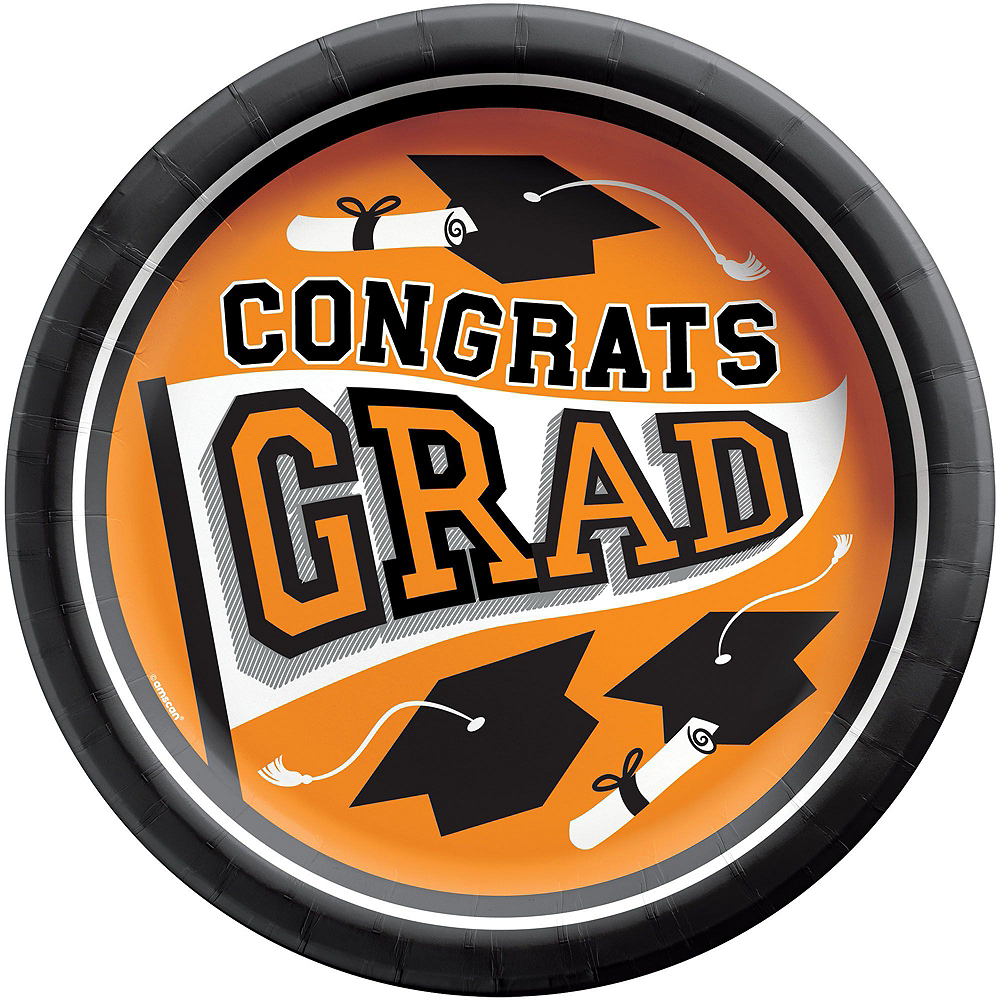Nav Item for Ultimate Orange Congrats Grad Graduation Party Kit for 100 Guests Image #2