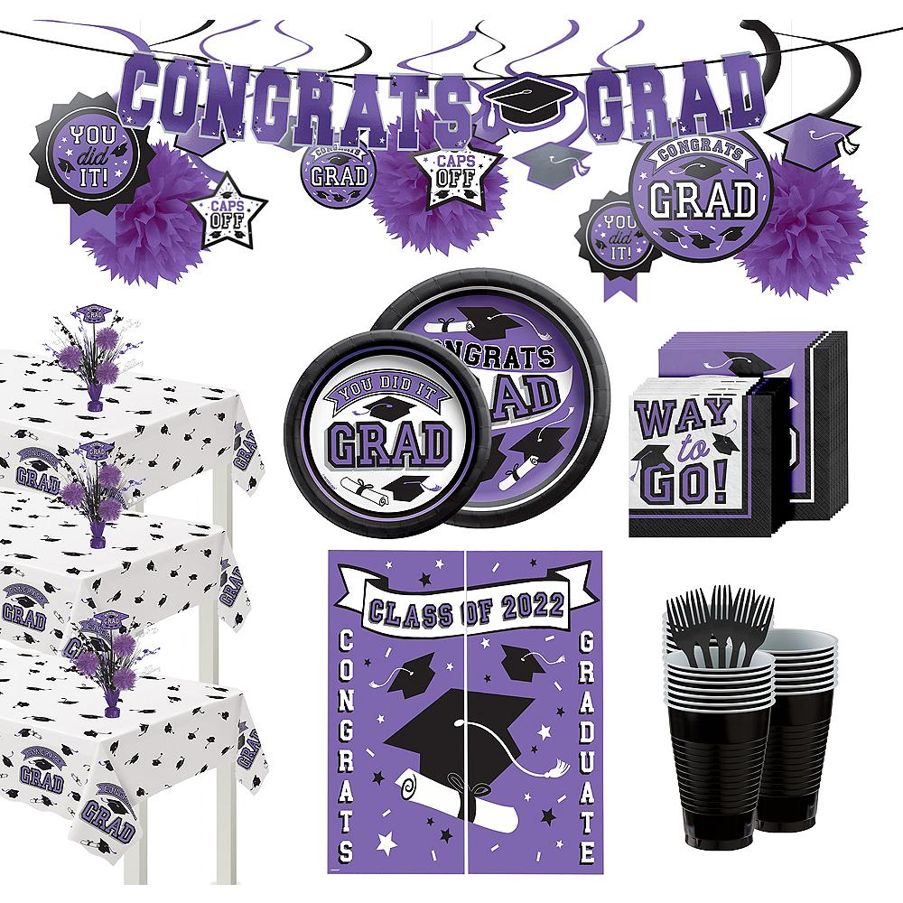 Ultimate Purple Congrats Grad Graduation Party Kit for 100 Guests Image #1