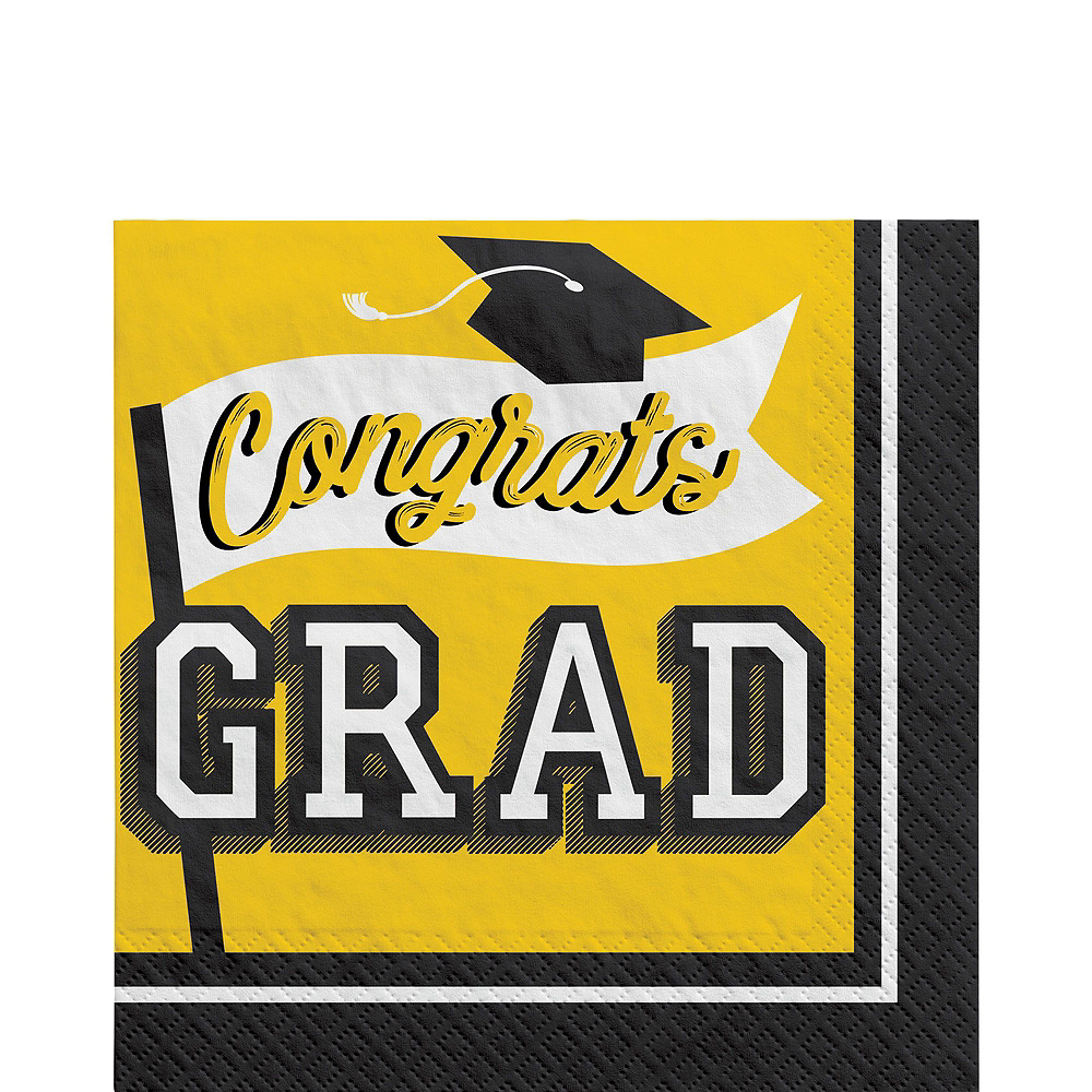 Ultimate Yellow Congrats Grad Graduation Party Kit for 100 Guests Image #3