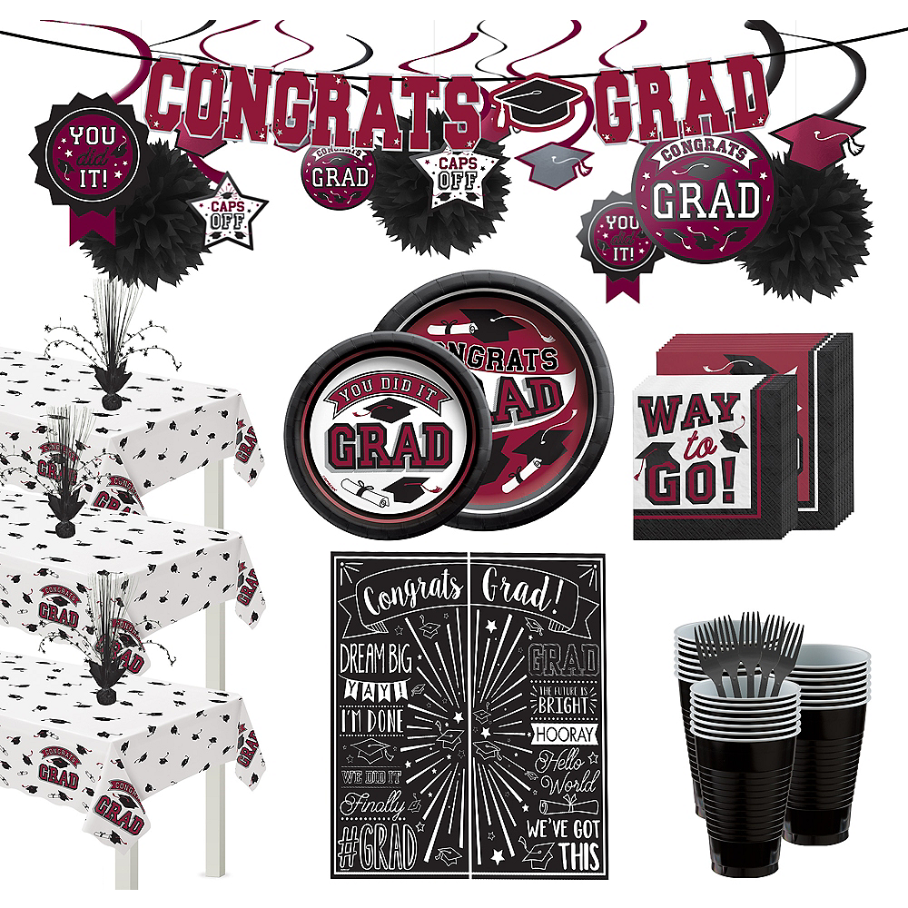 Ultimate Berry Congrats Grad Graduation Party Kit for 100 Guests Image #1