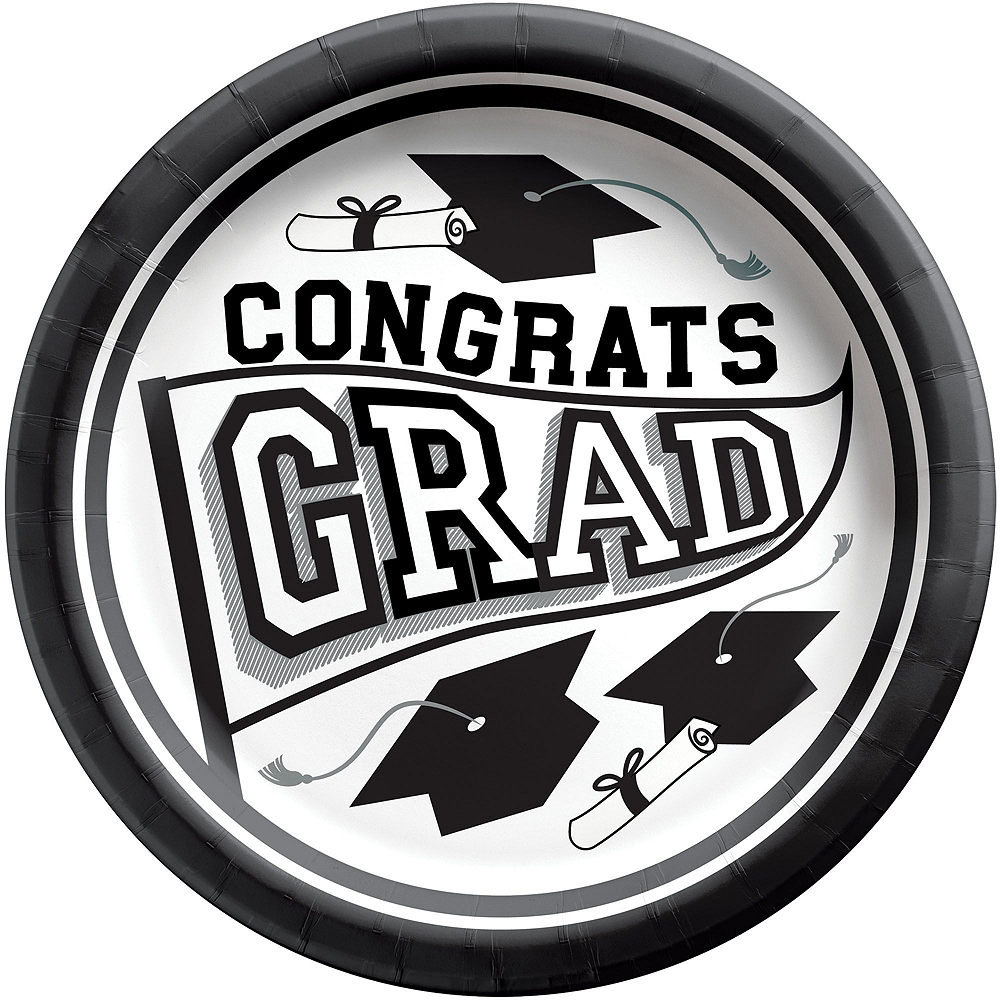 Ultimate White Congrats Grad Graduation Party Kit for 100 Guests Image #2