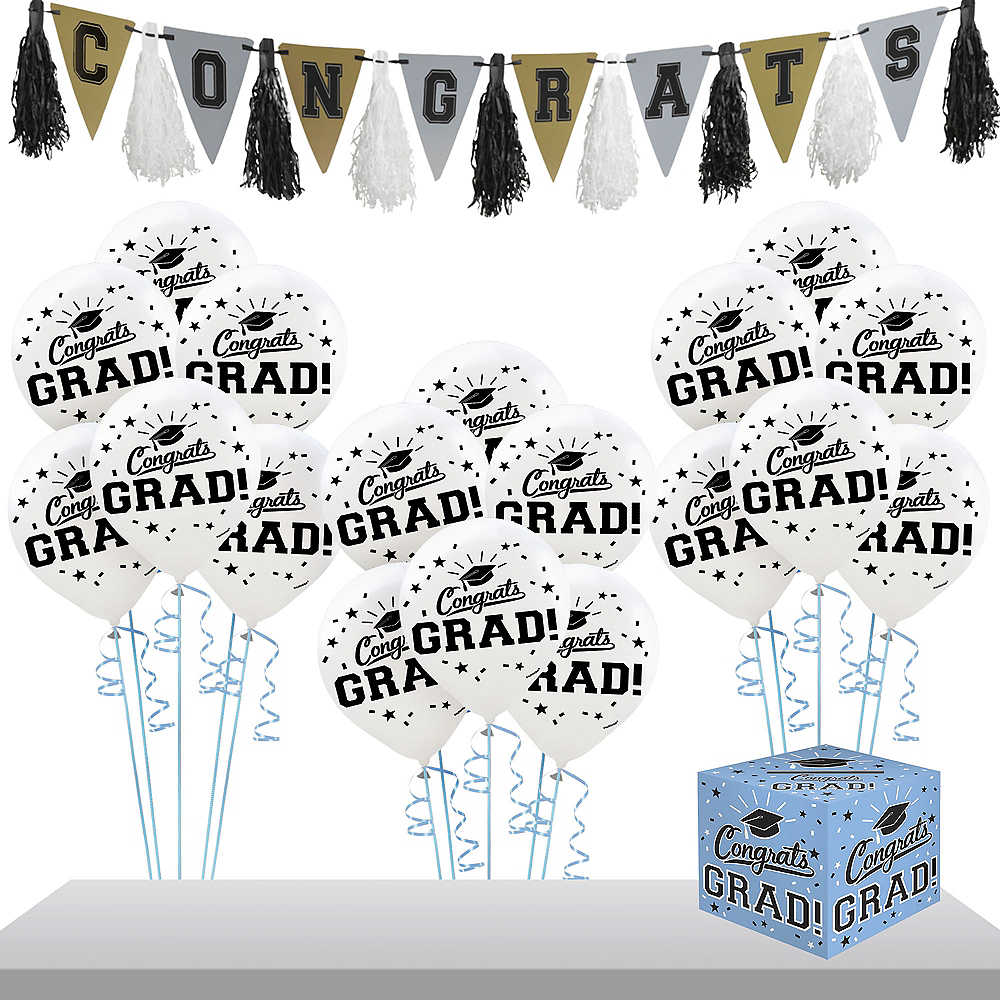 Powder Blue Congrats Grad Graduation Banner Kit Image #1