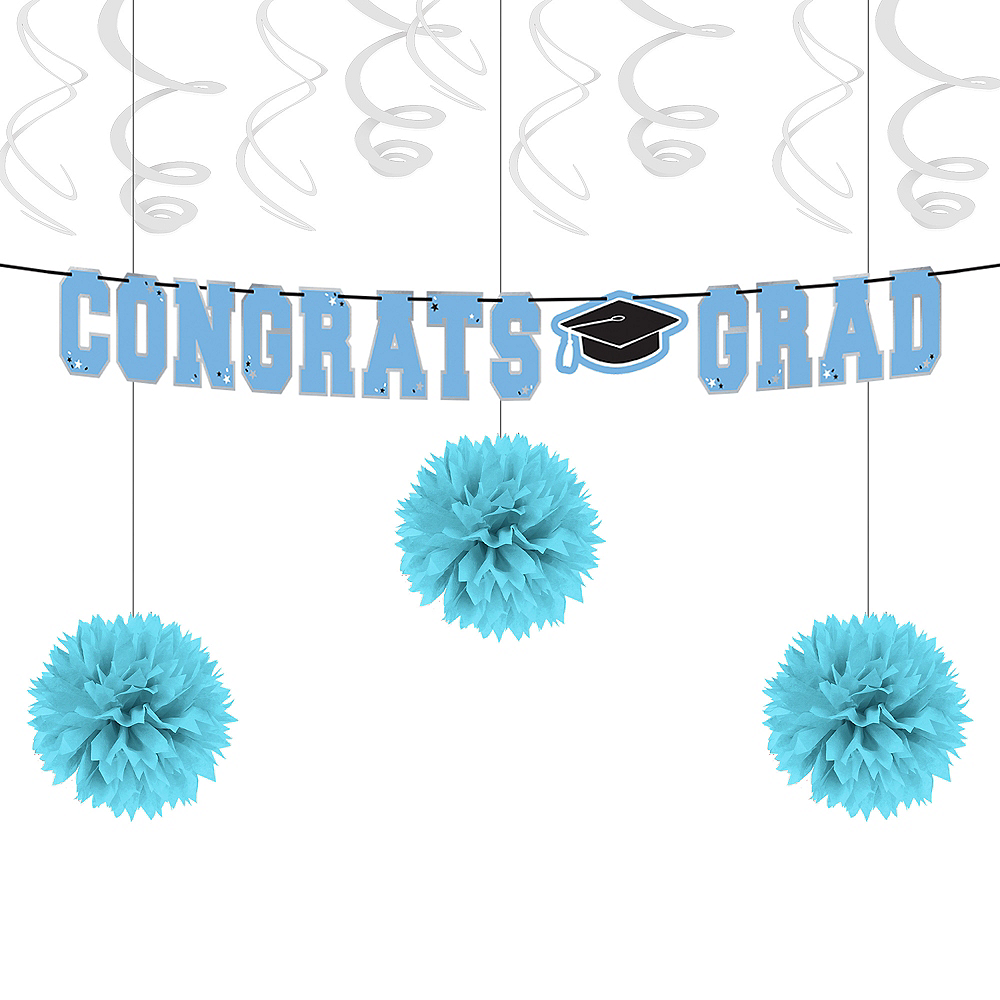 Powder Blue Congrats Grad Graduation Basic Decorating Kit Image #1