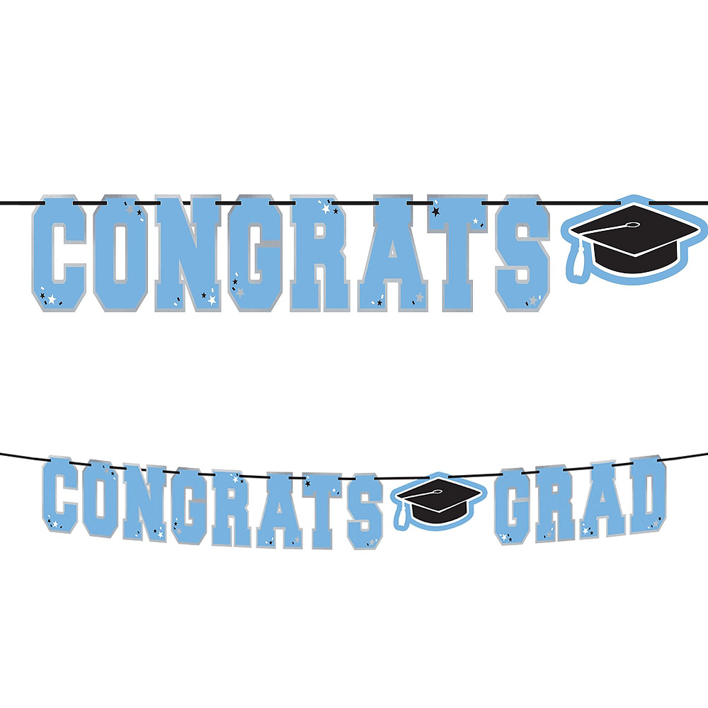 Powder Blue Congrats Grad Graduation Basic Decorating Kit Image #2