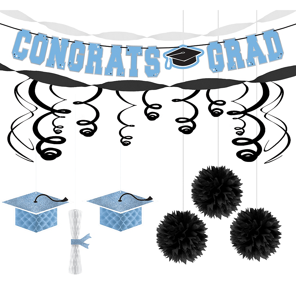 Powder Blue Congrats Grad Graduation Hanging Decoration Kit Image #1