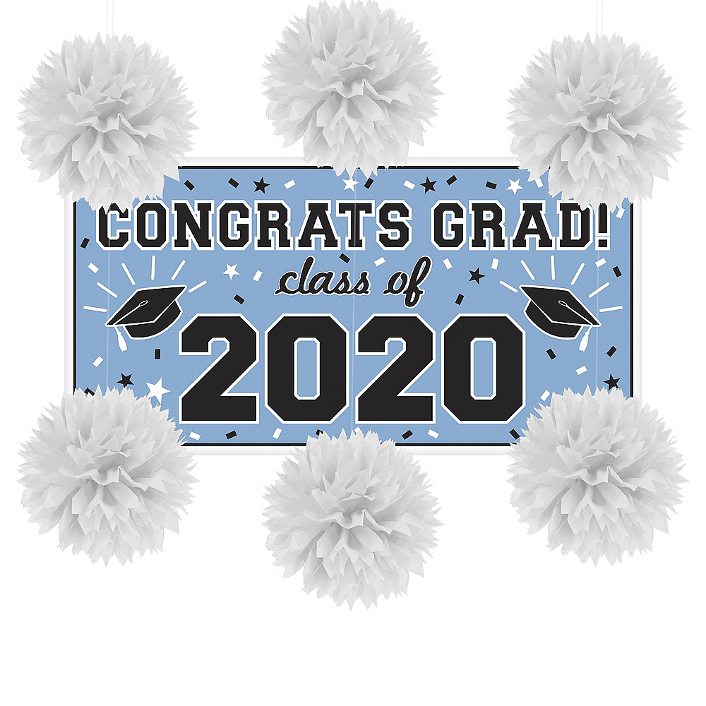 Powder Blue Congrats Grad Graduation Wall Decorating Kit Image #1