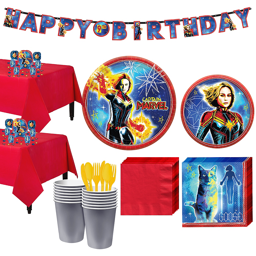 Captain Marvel Tableware Kit for 16 Guests Image #1