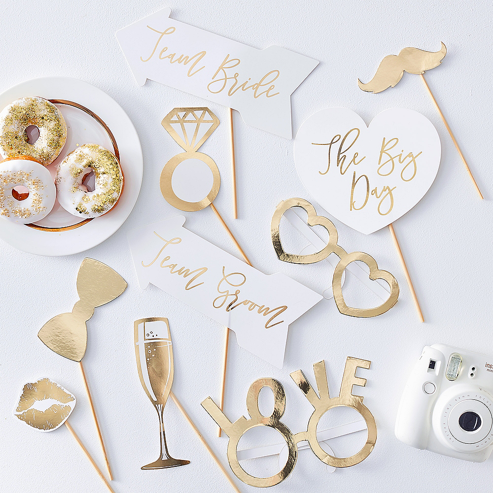 Ginger Ray Metallic Gold Wedding Photo Booth Props 10ct Image #1