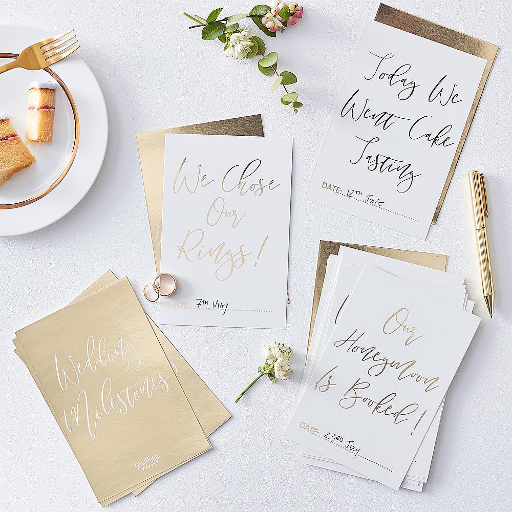 Ginger Ray Metallic Gold Wedding Milestone Cards 24ct Image #1