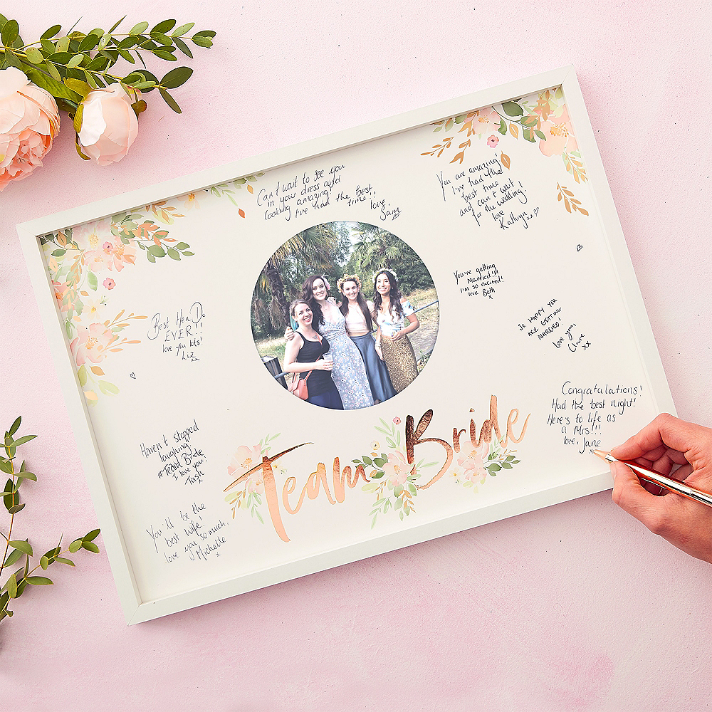Ginger Ray Metallic Rose Gold Team Bride Guest Book Frame Image #1