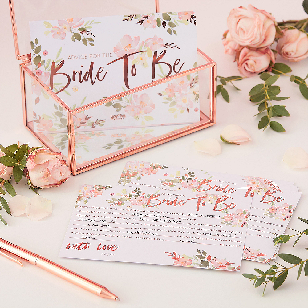 Ginger Ray Metallic Rose Gold Floral Bride To Be Advice Cards 10ct