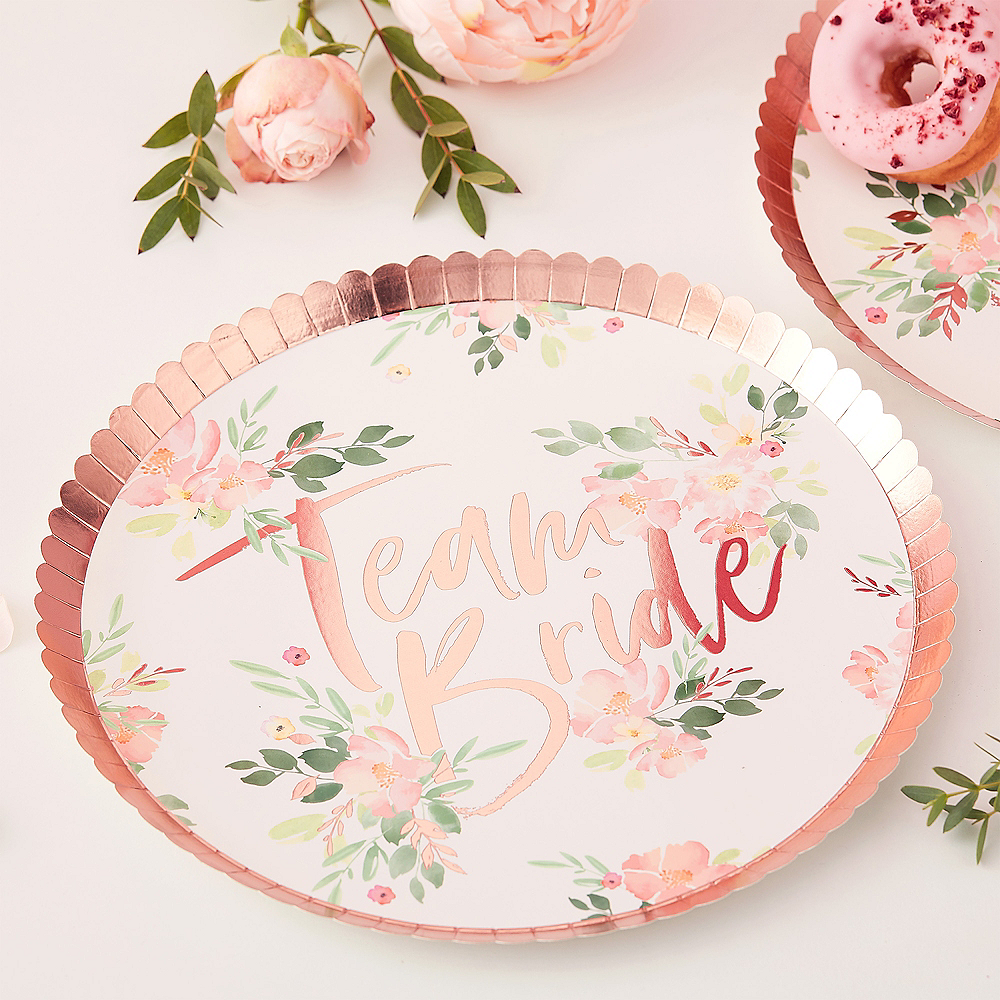 Ginger Ray Metallic Rose Gold Floral Team Bride Lunch Plates 8ct