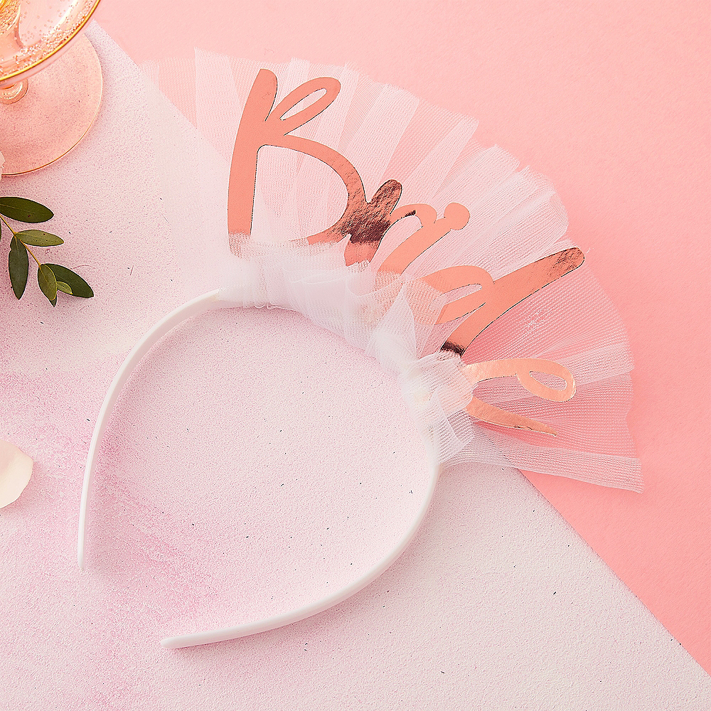 Ginger Ray Metallic Rose Gold Bride Headband Image #1