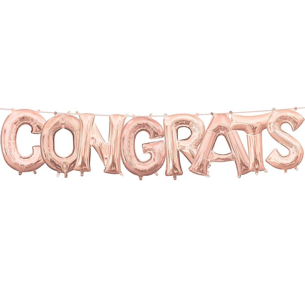 Air-Filled Rose Gold Congrats Letter Balloon Kit Image #1