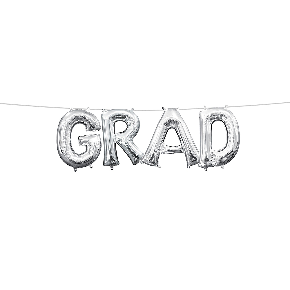 Air-Filled Silver Grad Letter Balloon Kit Image #1