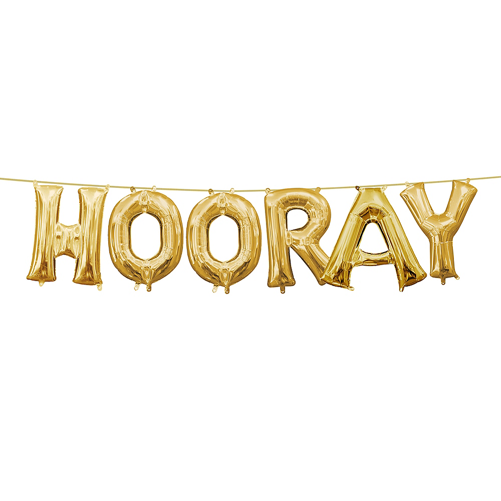 Air-Filled Gold Hooray Letter Balloon Kit Image #1
