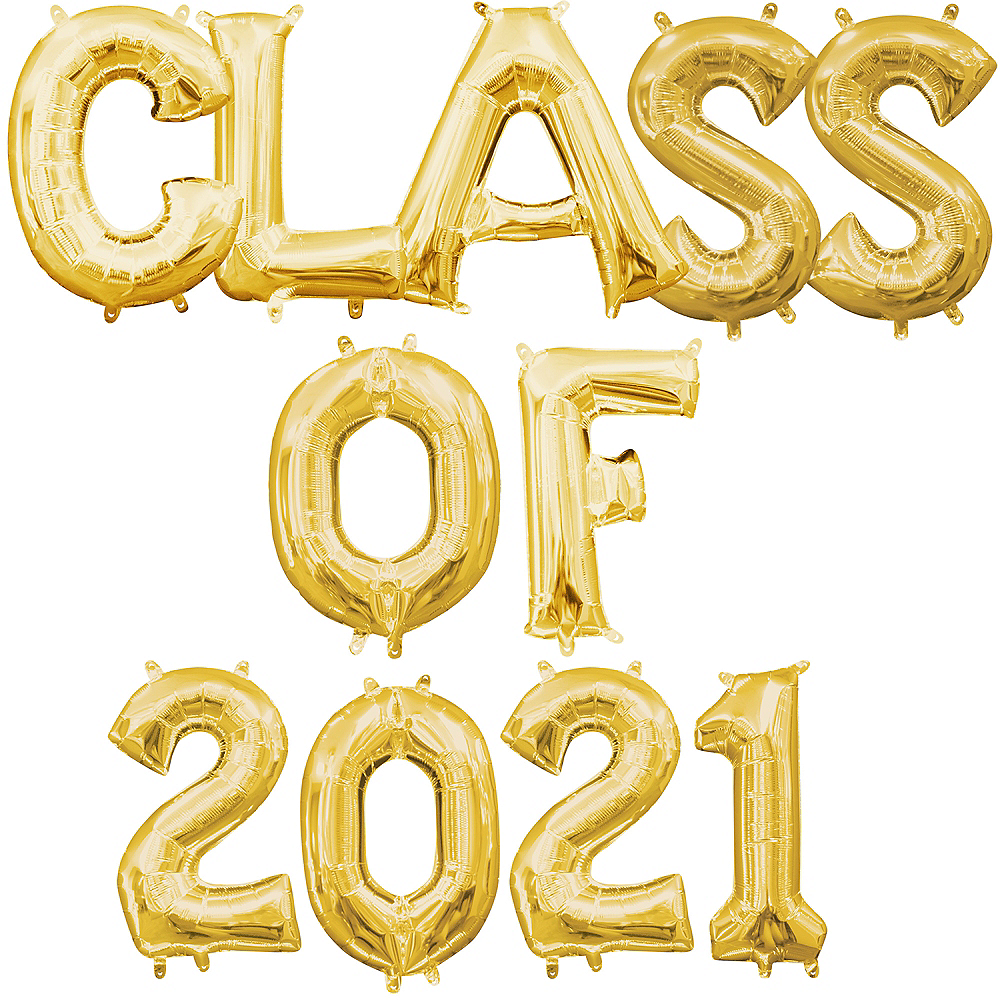 Air-Filled Gold Class of 2020 Balloon Phrase Kit, 13in Image #1
