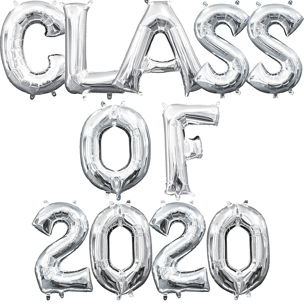Air-Filled Silver Class of 2019 Letter Balloon Kit Image #1
