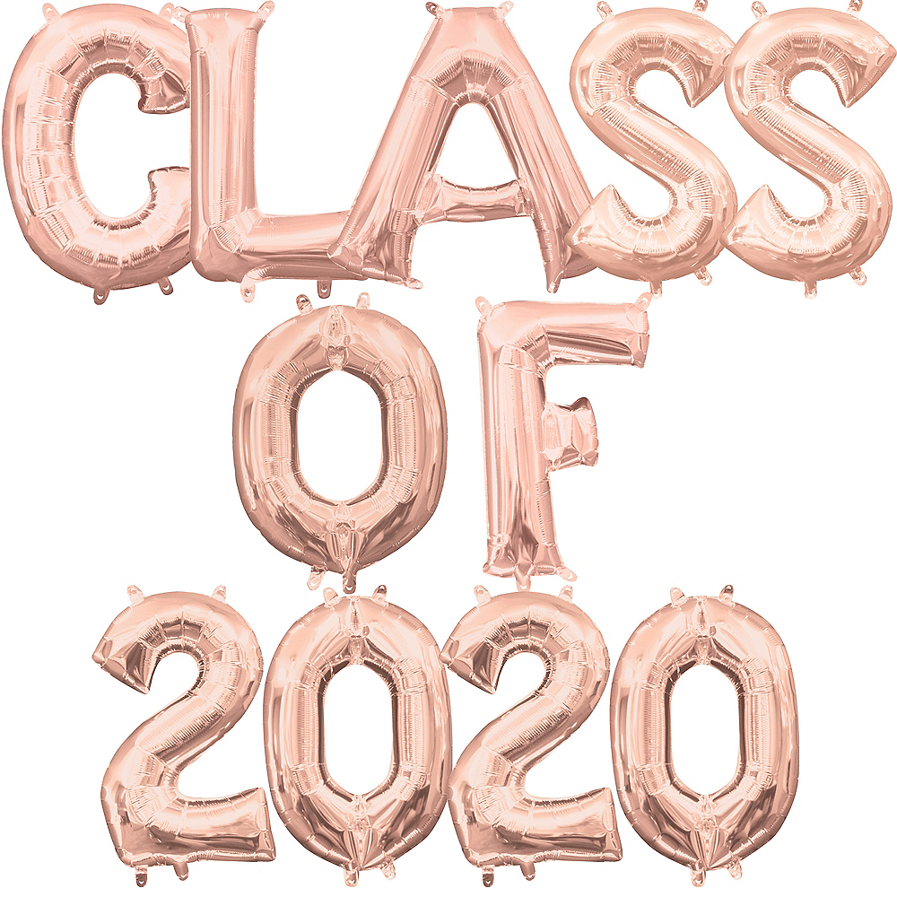 Air-Filled Rose Gold Class of 2019 Letter Balloon Kit Image #1