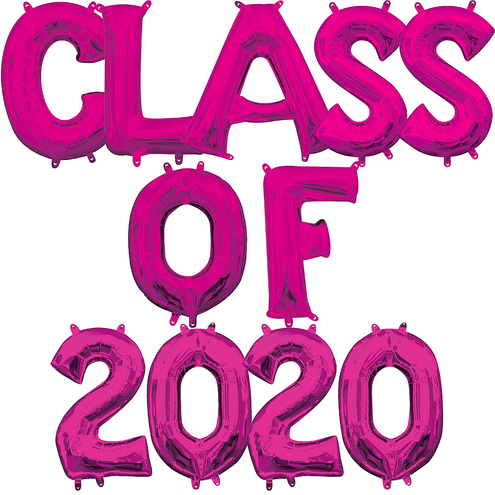 Air-Filled Pink Class of 2019 Letter Balloon Kit Image #1