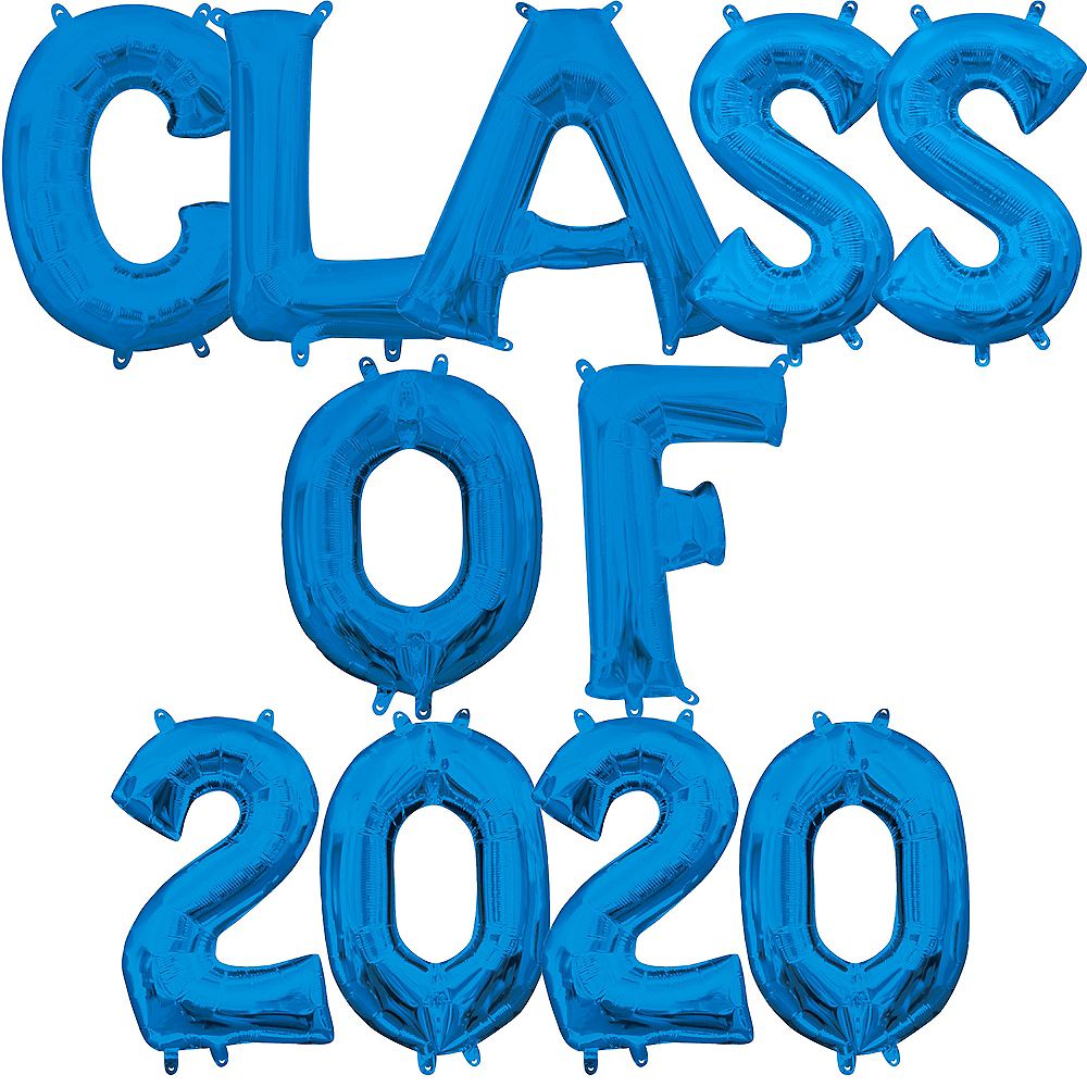 Air-Filled Blue Class of 2019 Letter Balloon Kit Image #1