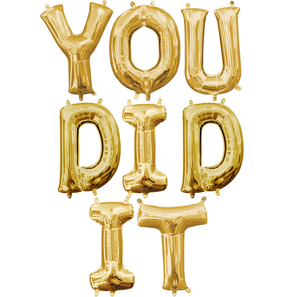 Air-Filled Gold You Did It Letter Balloon Kit Image #1