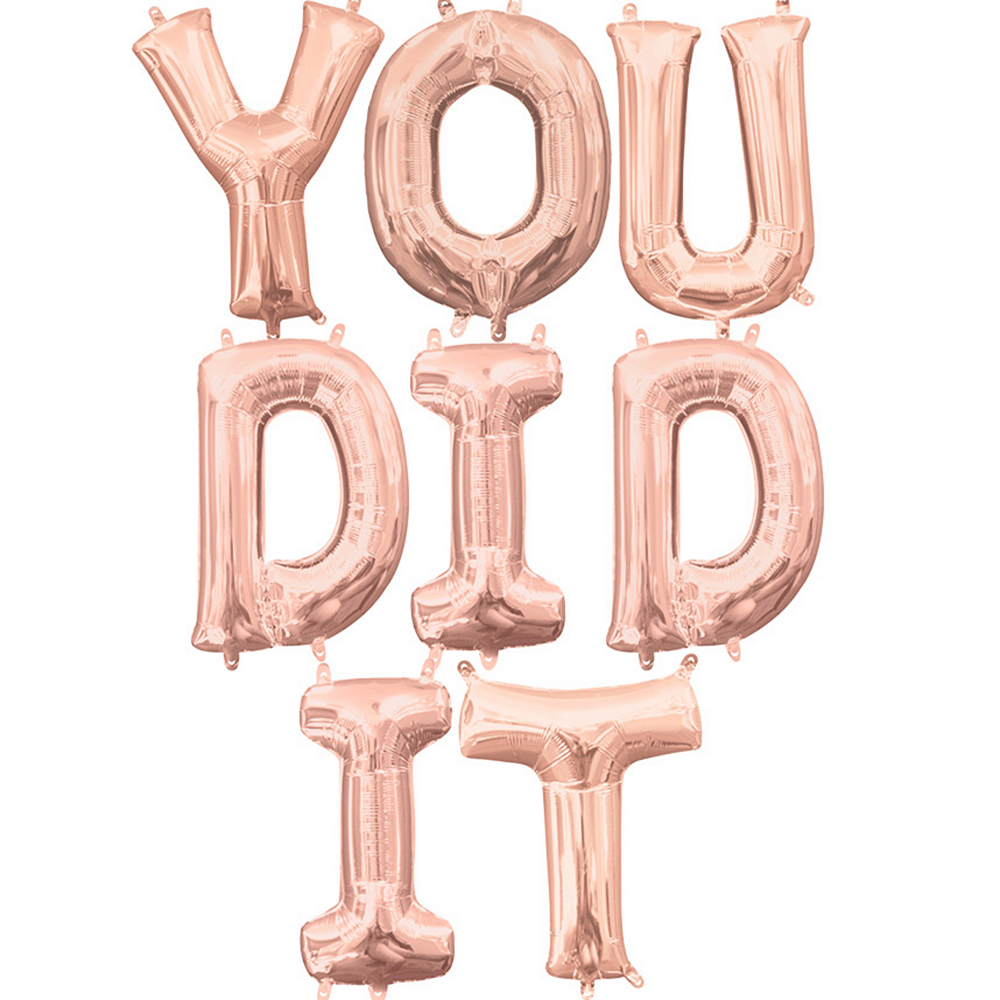 Air-Filled Rose Gold You Did It Letter Balloon Kit Image #1